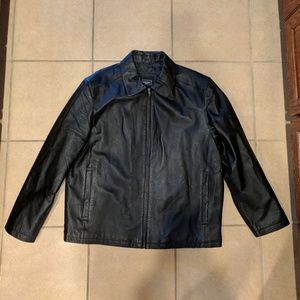 Haggar - Men's Black Leather Jacket - Large